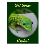 Gecko del día del polvo de oro - haga una prueba y postal