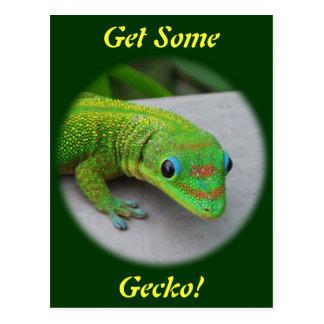 Gecko del día del polvo de oro - haga una prueba y tarjeta postal
