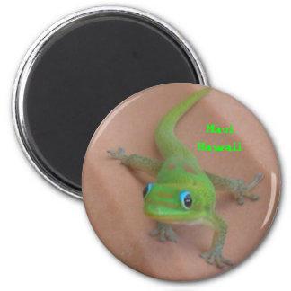 Gecko del día del polvo de oro imán redondo 5 cm