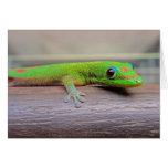 Gecko del día del polvo de oro tarjeta de felicitación