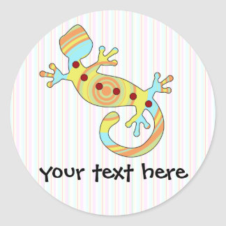 gecko del estallido swirly pegatina redonda