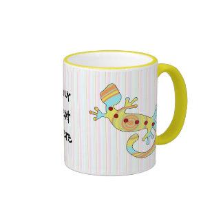 gecko del estallido swirly tazas de café