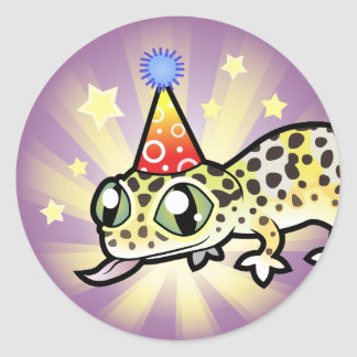 Gecko del leopardo del cumpleaños pegatina redonda