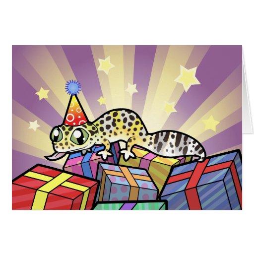 Gecko del leopardo del cumpleaños felicitacion