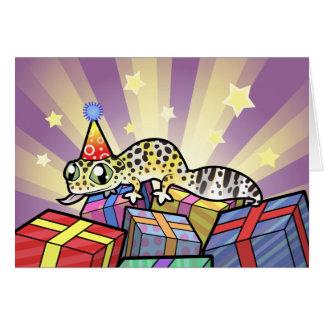 Gecko del leopardo del cumpleaños tarjeta de felicitación