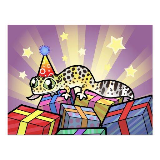 Gecko del leopardo del cumpleaños tarjeta postal