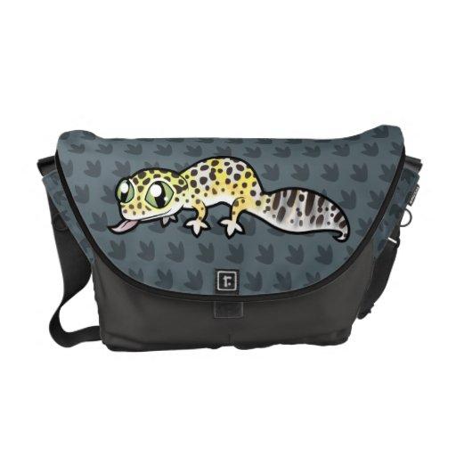 Gecko del leopardo del dibujo animado bolsa de mensajeria