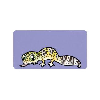 Gecko del leopardo del dibujo animado etiquetas de dirección