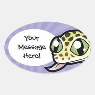Gecko del leopardo del dibujo animado pegatina ovalada
