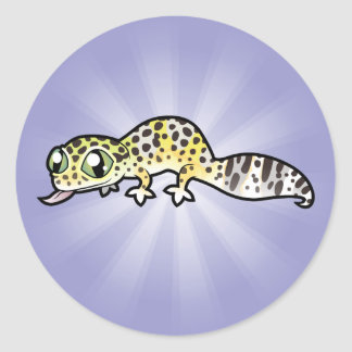 Gecko del leopardo del dibujo animado pegatina redonda
