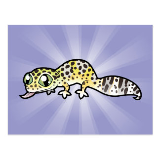 Gecko del leopardo del dibujo animado postales