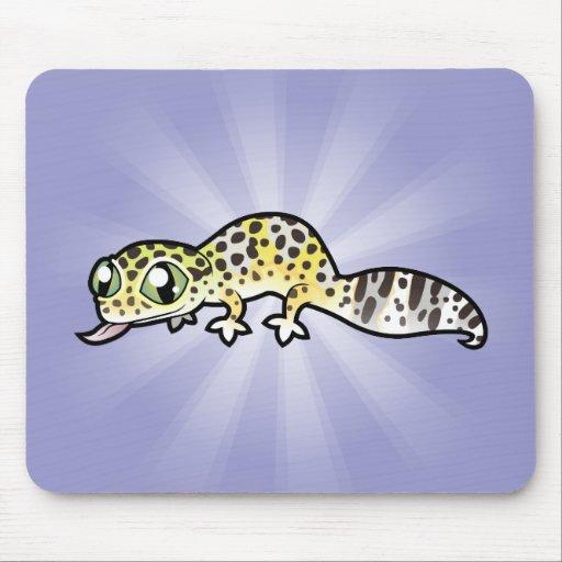 Gecko del leopardo del dibujo animado tapete de ratones