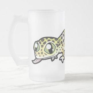 Gecko del leopardo del dibujo animado taza cristal mate