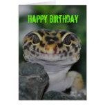 Gecko del leopardo del feliz cumpleaños tarjeta