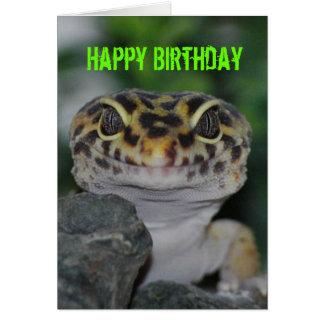 Gecko del leopardo del feliz cumpleaños tarjeta de felicitación