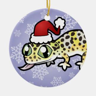 Gecko del leopardo del navidad adorno navideño redondo de cerámica