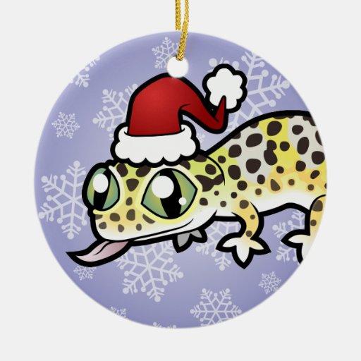 Gecko del leopardo del navidad adorno de navidad