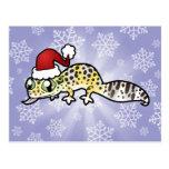 Gecko del leopardo del navidad postal
