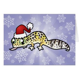 Gecko del leopardo del navidad tarjeta de felicitación