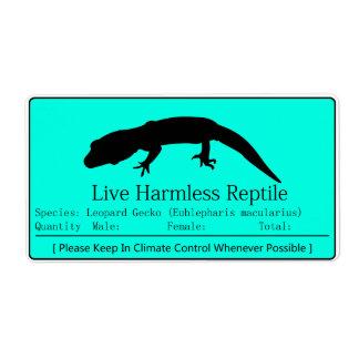 Gecko del leopardo - etiqueta azul etiquetas de envío