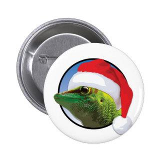 Gecko del navidad - estándar, botón redondo de la pin redondo de 2 pulgadas