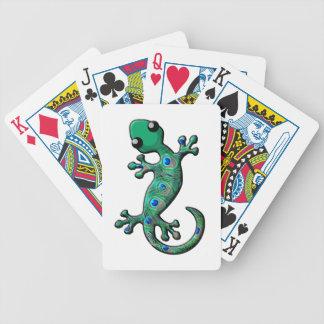 Gecko del pavo real baraja de cartas