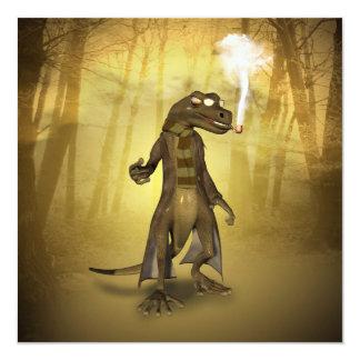"""Gecko divertido invitación 5.25"""" x 5.25"""""""
