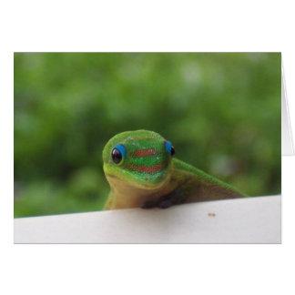 Gecko en el notecard de las zonas tropicales tarjetas