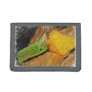 Gecko enjoying Peaches Tri-fold Wallets