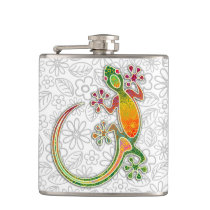 Gecko Floral Tribal Art Flasks