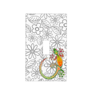 Gecko Floral Tribal Art Light Switch Cover
