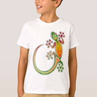 Gecko Floral Tribal Art T-Shirt