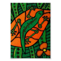 Gecko Green And Orange Poster