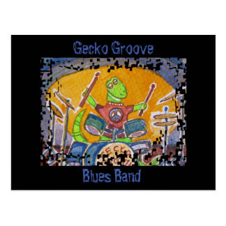Gecko Groove Blues Band Lizard Drummer Postcard