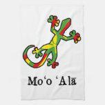 Gecko hawaiano de la bandera toalla de cocina