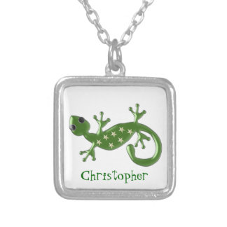 Gecko Lizard Just Add Name Silver Plated Necklace