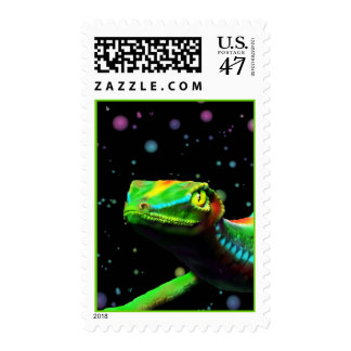 Gecko Lizard Rainbow Colors postage stamps