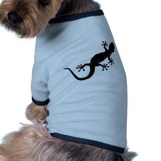 Gecko negro camiseta con mangas para perro