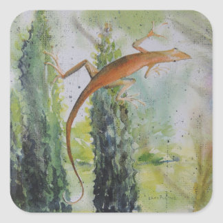 Gecko on the Window Screen Square Sticker
