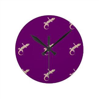 Gecko Pattern on Purple Round Clock