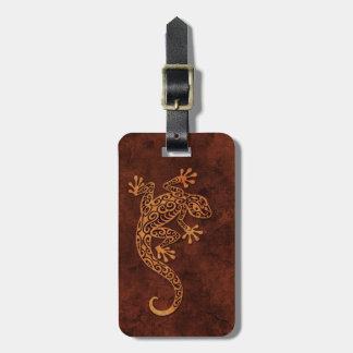 Gecko que sube de la piedra de Brown Etiqueta De Maleta