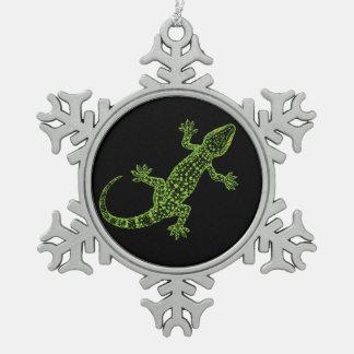 Gecko Snowflake Pewter Christmas Ornament
