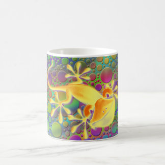 Gecko sonriente - puntos coloreados taza clásica