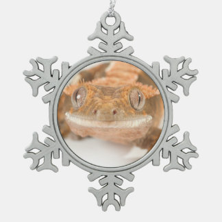 Gecko Stare Snowflake Pewter Christmas Ornament