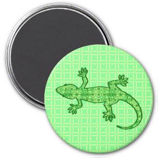 Gecko tribal del batik - cal y verde esmeralda imán redondo 7 cm