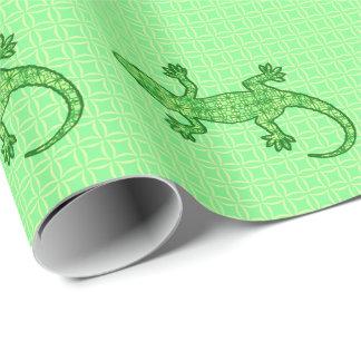 Gecko tribal del batik - cal y verde esmeralda papel de regalo