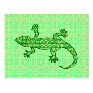 Gecko tribal del batik - cal y verde esmeralda postal