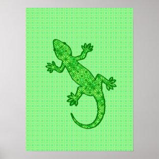Gecko tribal del batik - cal y verde esmeralda póster