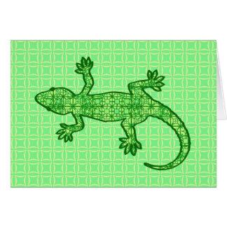 Gecko tribal del batik - cal y verde esmeralda tarjeta pequeña