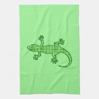 Gecko tribal del batik - cal y verde esmeralda toallas de mano